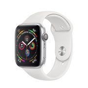 Watch Series 4 Aluminum (44mm), Silver, White Sport Band